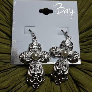 Bay Silvertone Earrings